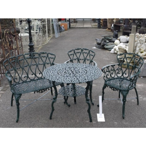 Cast Iron Round Table with shelf & 2 Chairs & 1 Bench