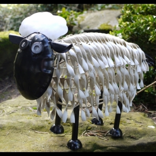 Small Metal Handmade Sheep Home Shop or Garden Ornament