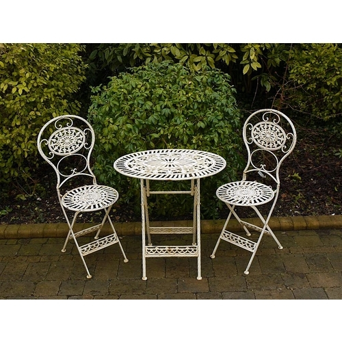 Wrought Iron Rustic Table & 2 Chairs - Country Cream
