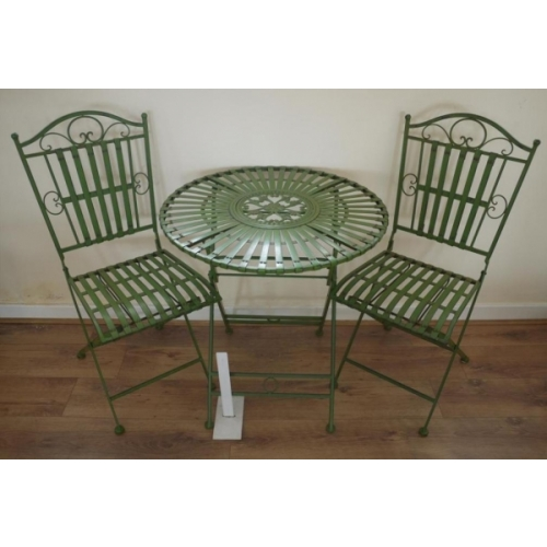 Wrought Iron Table & 2 Chairs – Pea Green