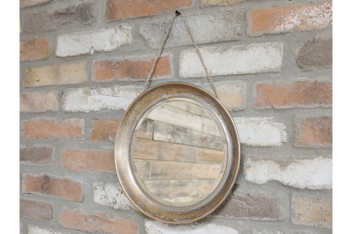 Industrial Rustic Round Wall Hanging Mirror
