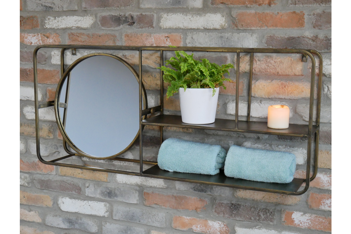 Metal Wall Unit Mirror With Shelves