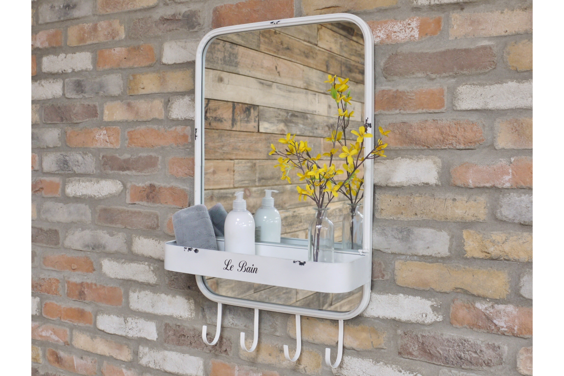 White Metal Mirror with Shelf and Hooks