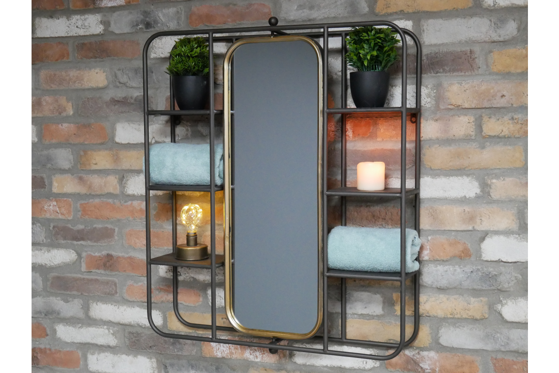Gold Lined Black Metal Mirror Shelving Unit