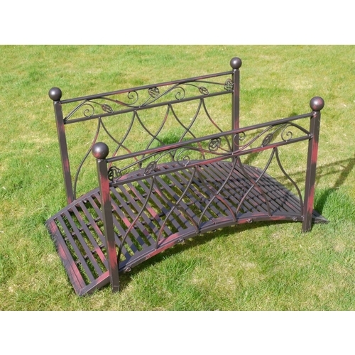 Metal Arched Pond Or Garden Bridge With Handrails In Shabby Chic Black&Red (451)
