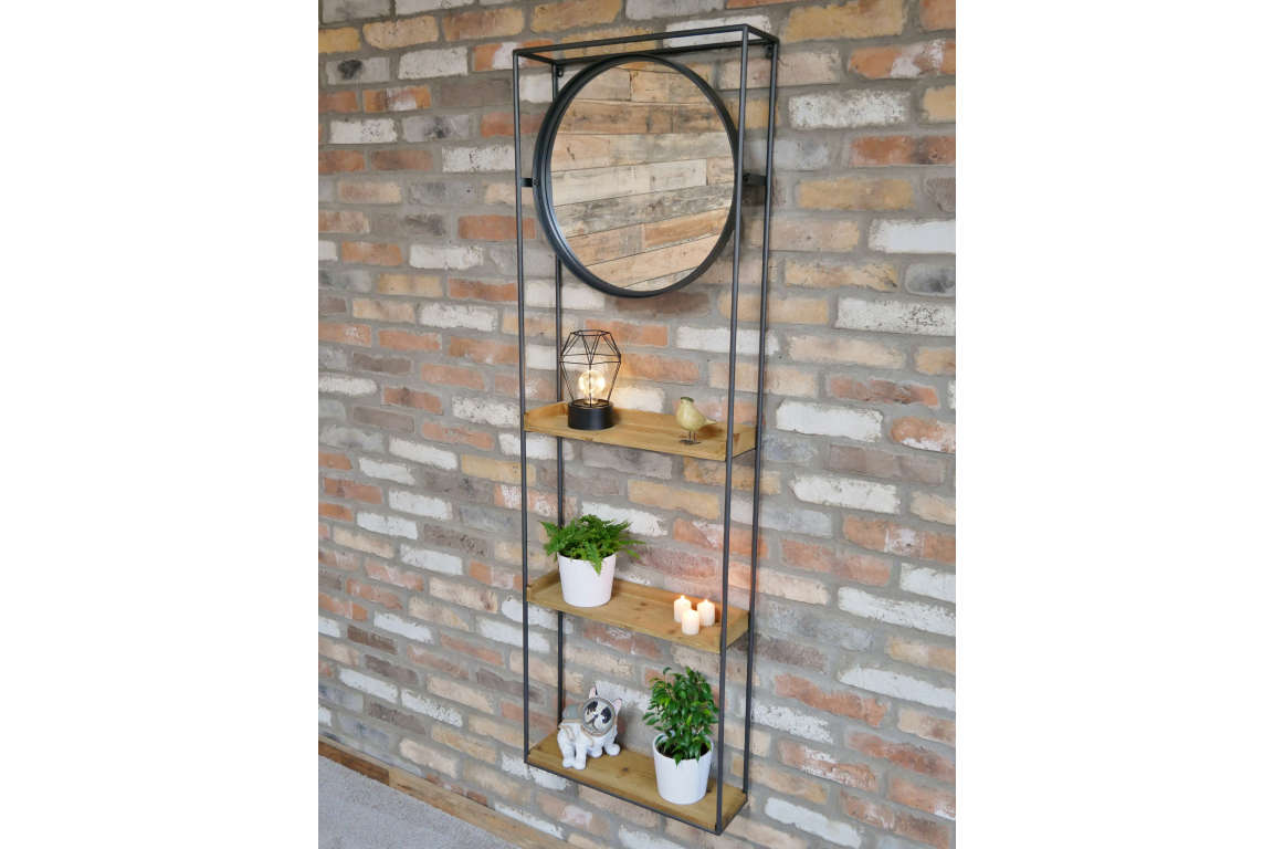 Bathroom/Home Mirror Wall Unit with Shelves