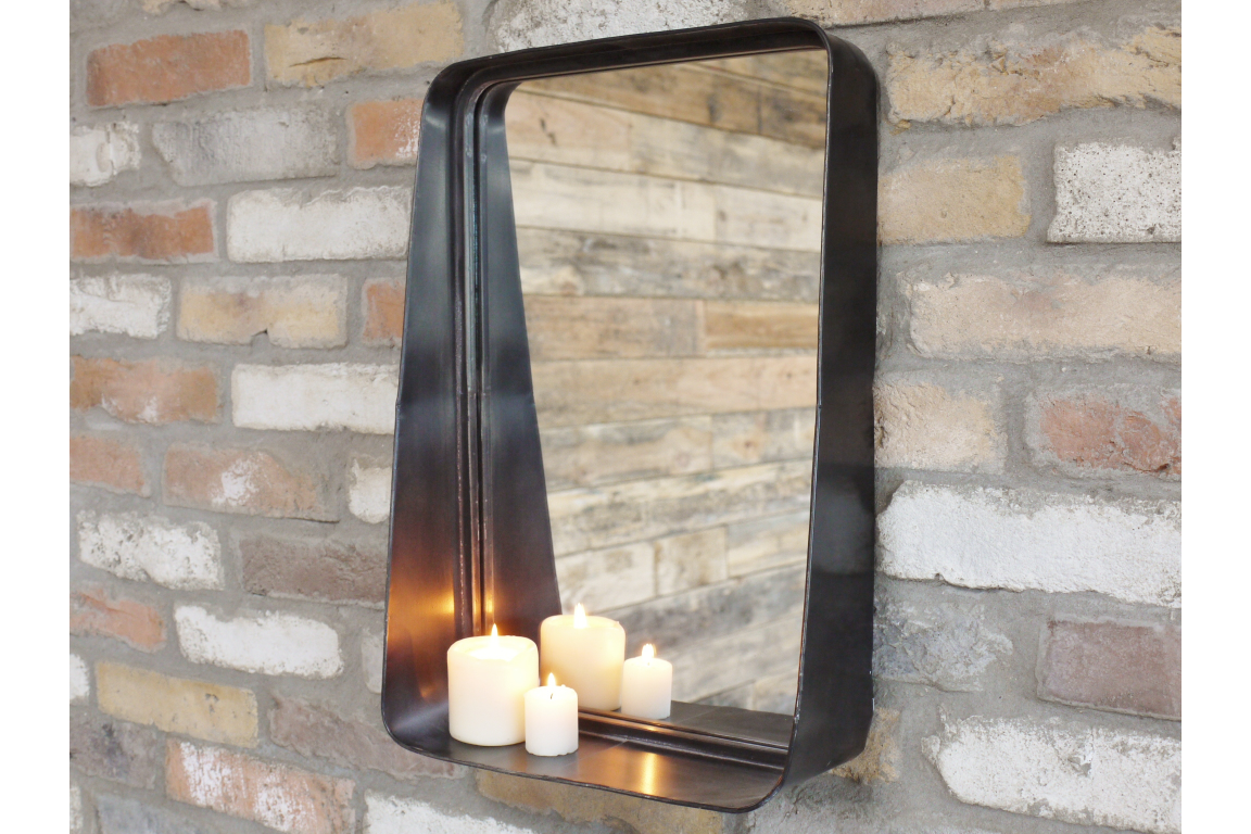 Industrial Black Mirror with Candle Shelf